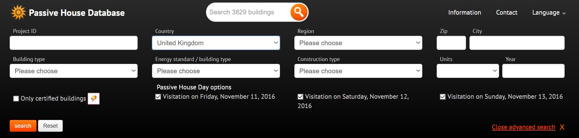 International Passivhaus Buildings Database advanced search