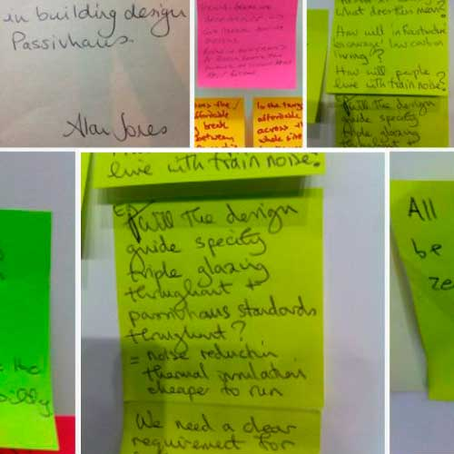 PostIt notes with ideas for sustainable design