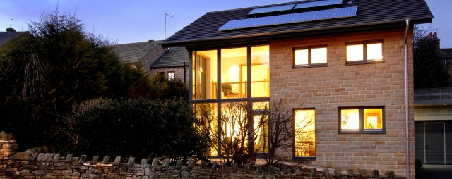 Denby Dale Passivhaus at night
