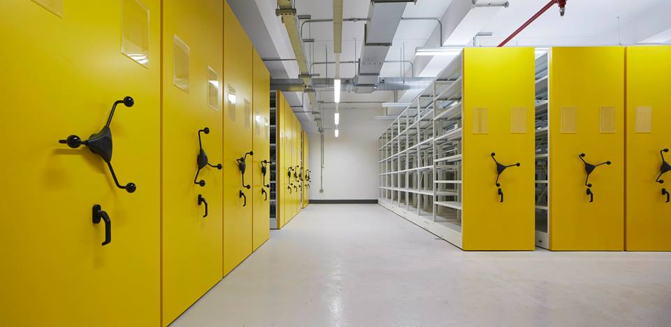Hereford Archive Centre, interior view yellow doors of archive repository. Dennis Gilbert