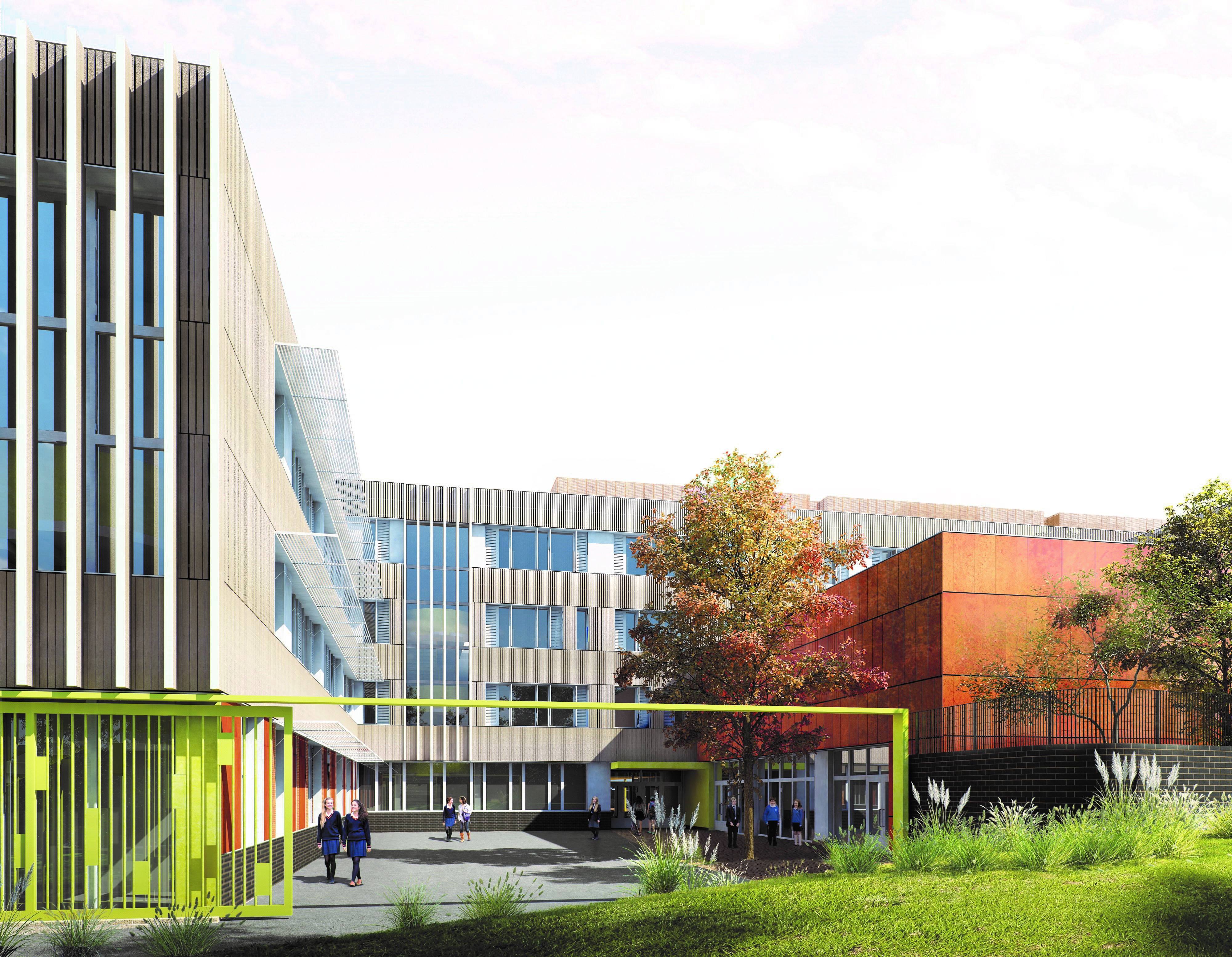 Proposed render of Sutton Secondary School ©Architype