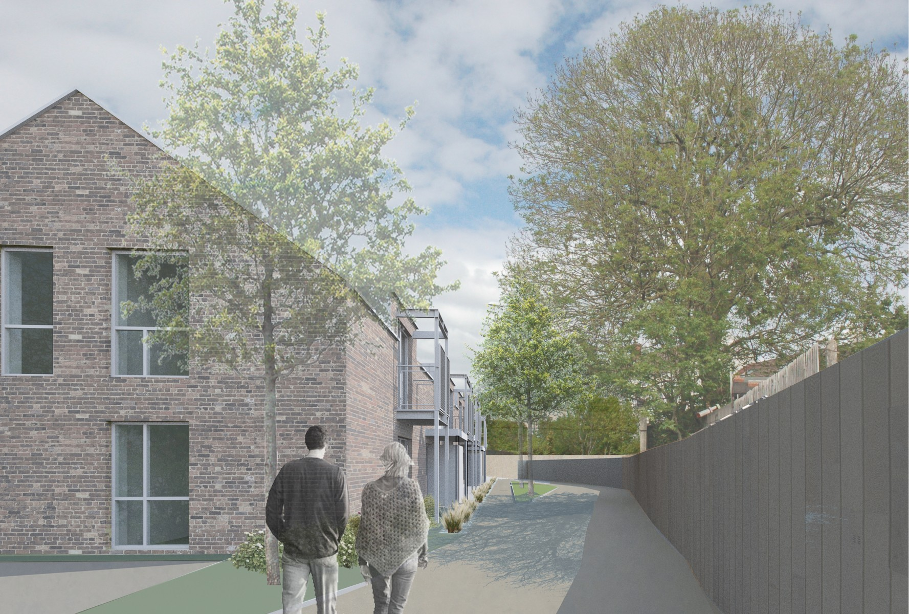 Bristol City Council Artists render of new green homes: Emmett Russell Architects