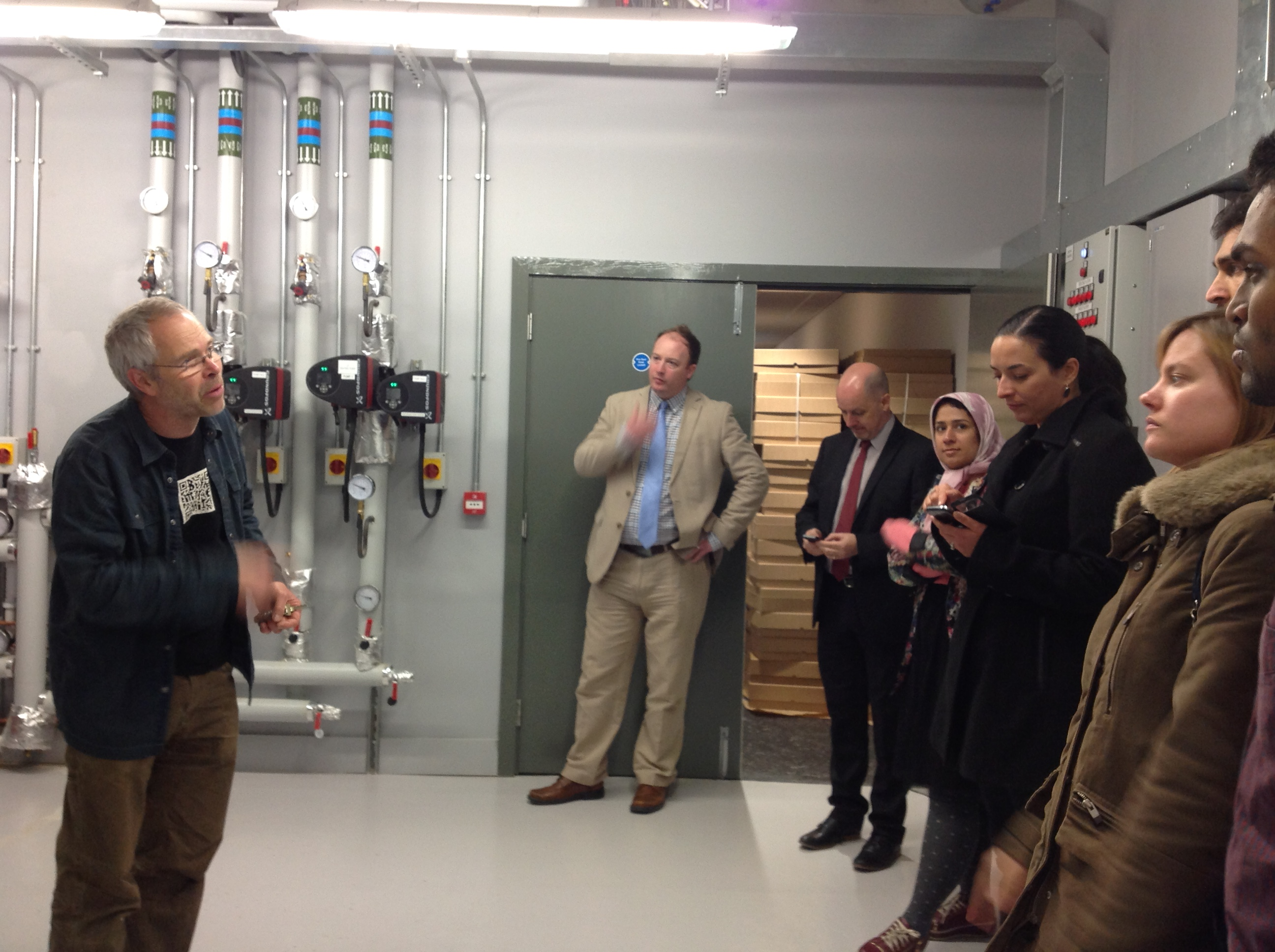 Nick Grant shows off the plant room at HARC